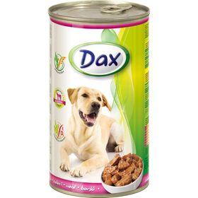 Влажный корм DAX для собак, кусочки в соусе с телятиной, ж/б, 1240 г.