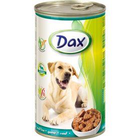 Влажный корм DAX для собак, кусочки в соусе с дичью, ж/б, 1240 г.