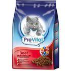Сухой корм PreVital для кошек, говядина с овощами, 400 г