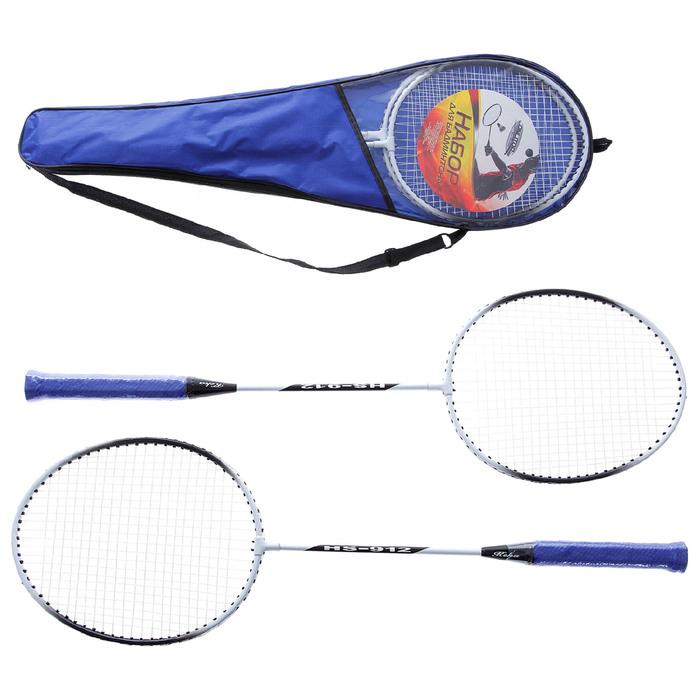 Бадминтон GOLD №912, набор 3 предмета: 2 алюминиевые ракетки, чехол, цвета МИКС