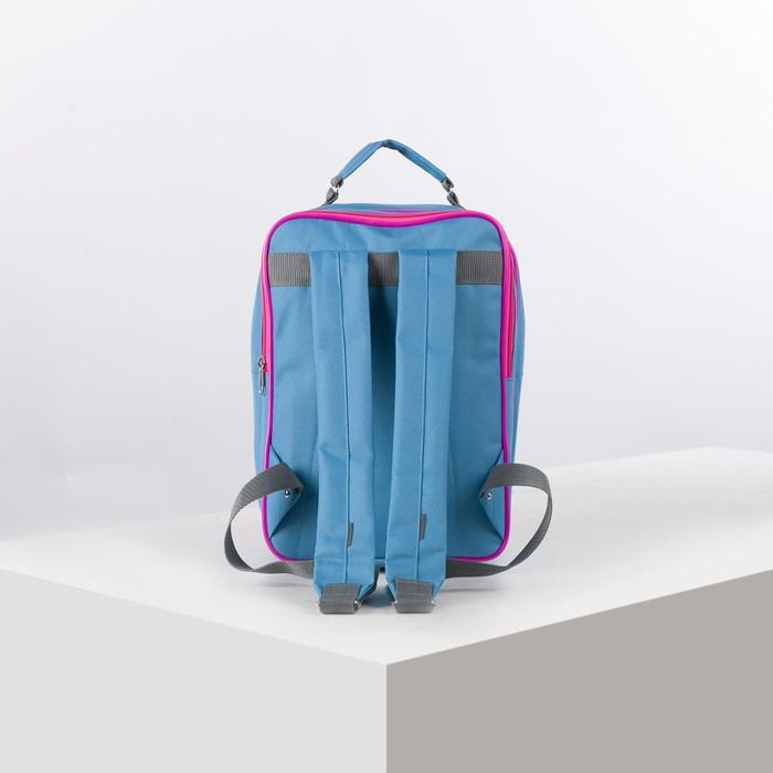 Рюкзак школьный, 2 отдела на молниях, 2 наружных кармана, цвет голубой - фото 448851917