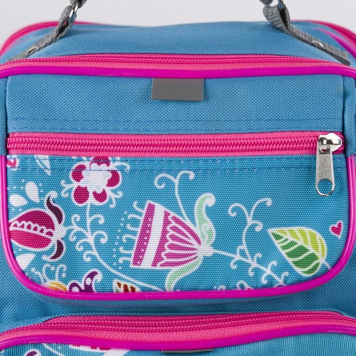 Рюкзак школьный, 2 отдела на молниях, 2 наружных кармана, цвет голубой - фото 448851918