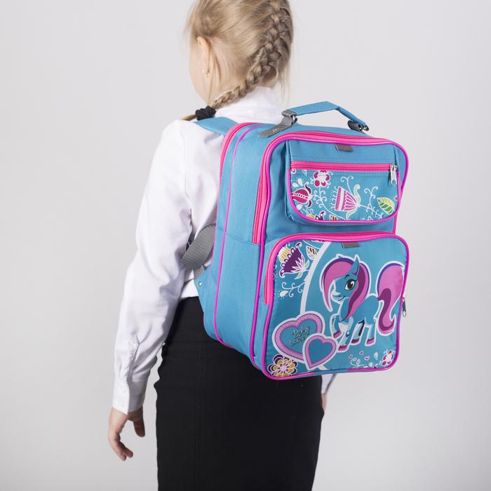 Рюкзак школьный, 2 отдела на молниях, 2 наружных кармана, цвет голубой - фото 448851913