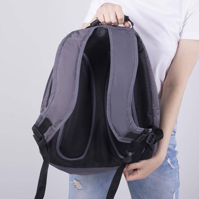 Рюкзак школьный, 2 отдела на молниях, наружный карман, цвет серый/красный - фото 418357255