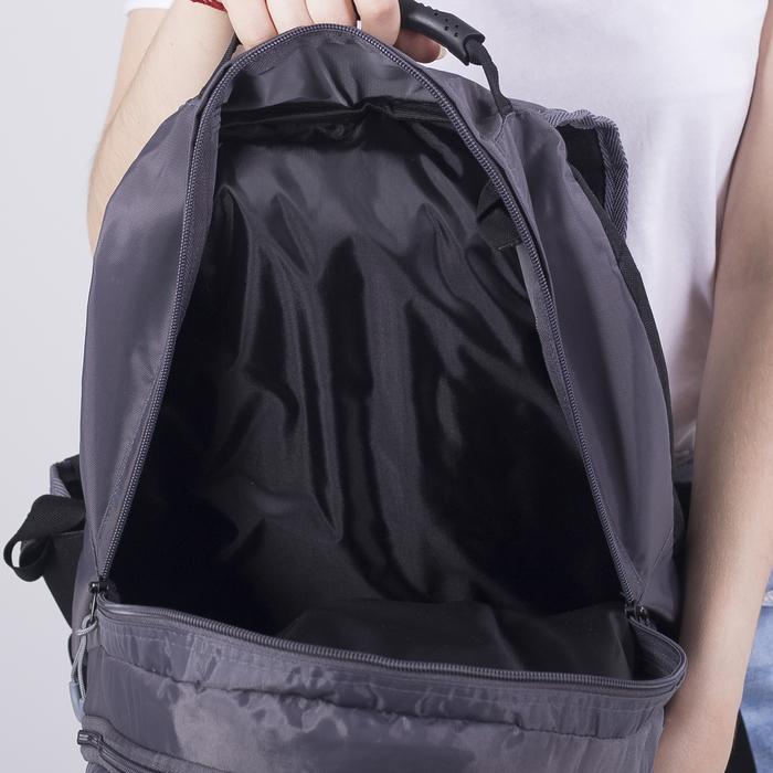 Рюкзак школьный, 2 отдела на молниях, наружный карман, цвет серый/красный - фото 418357256
