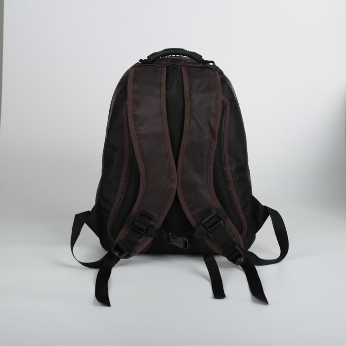 Рюкзак школьный, 2 отдела на молниях, наружный карман, цвет коричневый/зелёный - фото 404533397