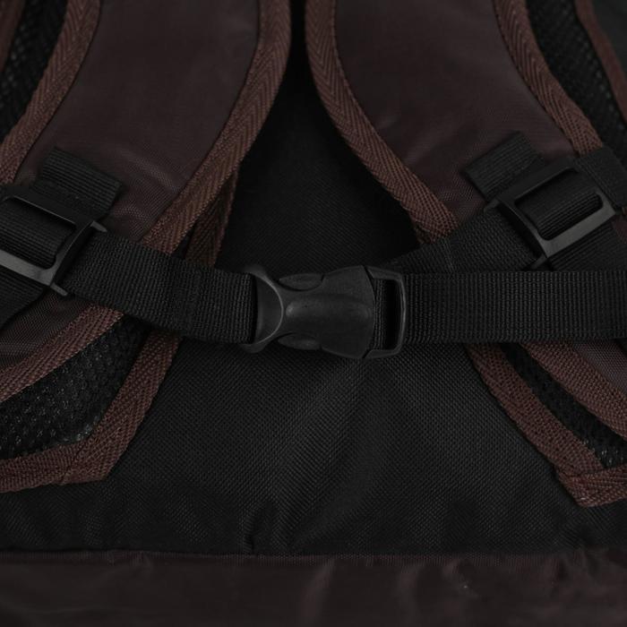 Рюкзак школьный, 2 отдела на молниях, наружный карман, цвет коричневый/зелёный - фото 404533398