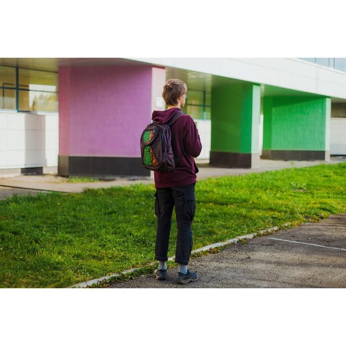 Рюкзак школьный, 2 отдела на молниях, наружный карман, цвет коричневый/зелёный - фото 404533402
