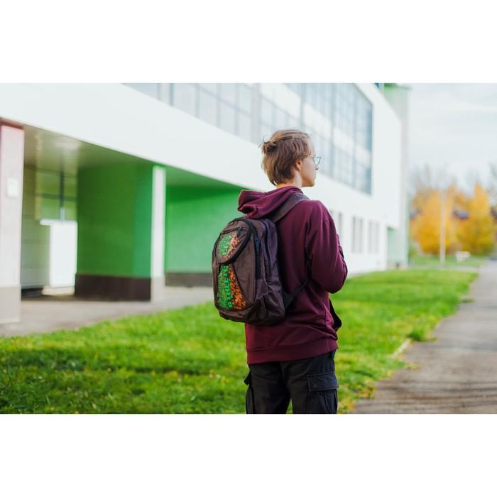 Рюкзак школьный, 2 отдела на молниях, наружный карман, цвет коричневый/зелёный - фото 404533404