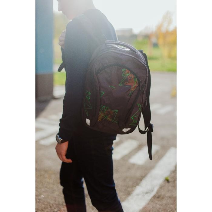 Рюкзак школьный, 2 отдела на молниях, 3 наружных кармана, цвет коричневый