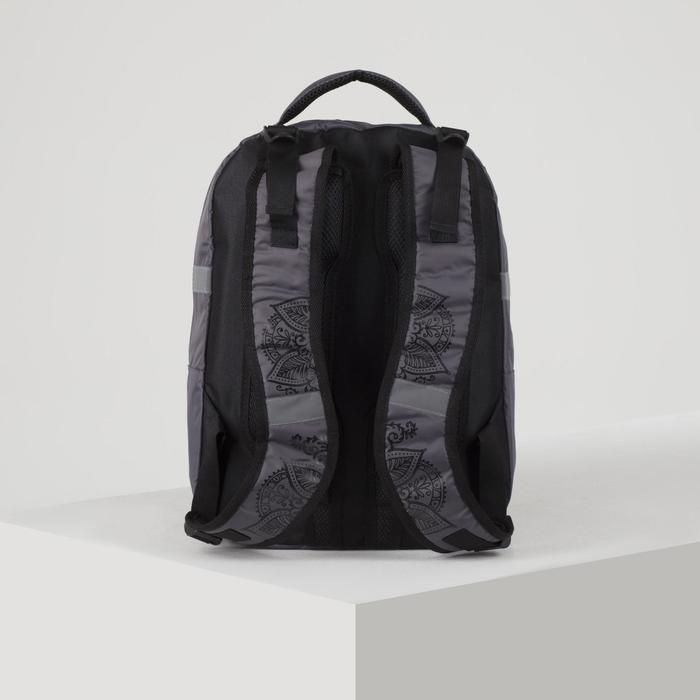 Рюкзак школьный, 2 отдела на молниях, 3 наружных кармана, цвет серый - фото 408727815