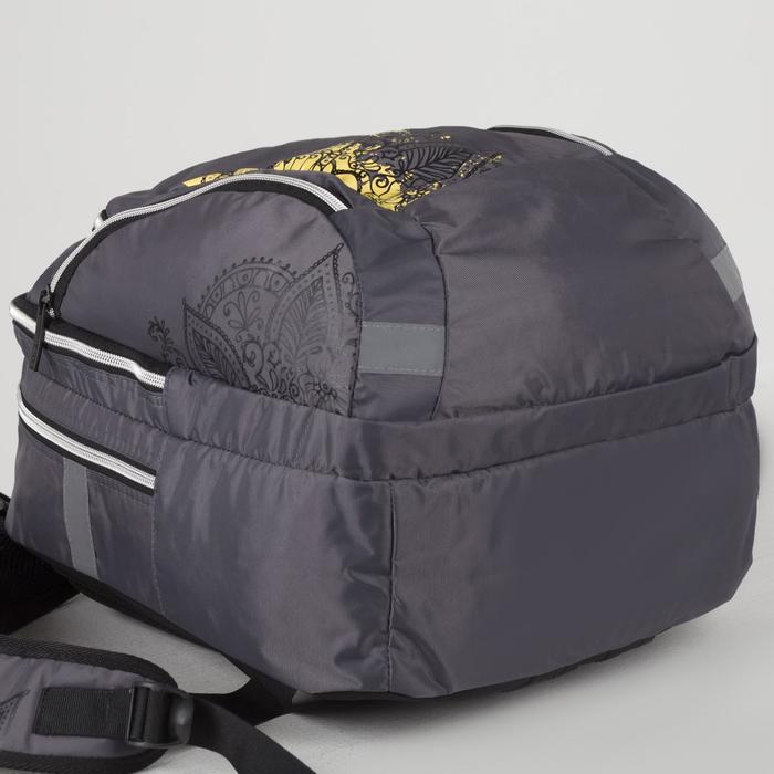 Рюкзак школьный, 2 отдела на молниях, 3 наружных кармана, цвет серый - фото 408727817