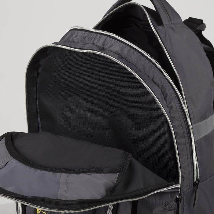 Рюкзак школьный, 2 отдела на молниях, 3 наружных кармана, цвет серый - фото 408727818