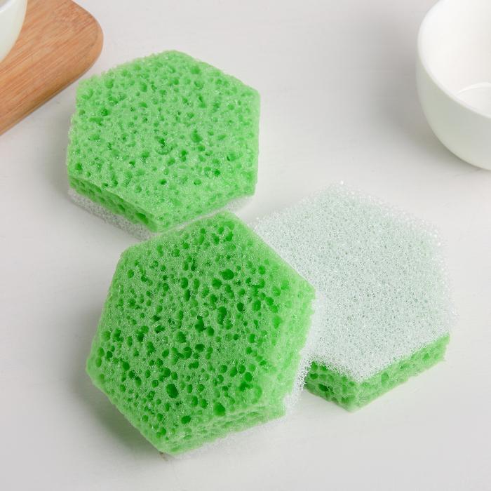 Набор губок для посуды 9.5×8×3 см, 3 шт - фото 1716985
