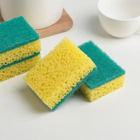 """Набор губок для посуды, антибактериальные 9.8×6.6×3 см """"Коралл"""", 4 шт, цвет МИКС"""