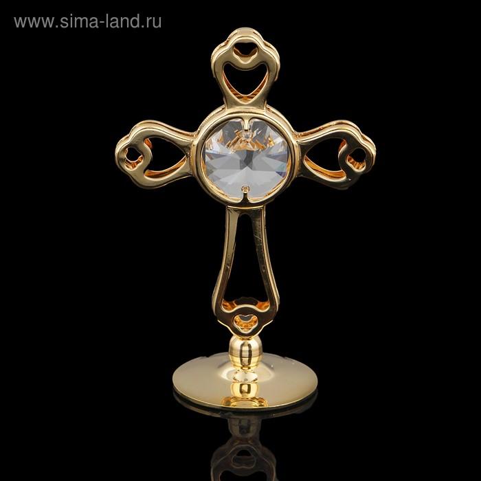 Сувенир «Крест», на подставке, с хрусталиками Сваровски, 8,5 см