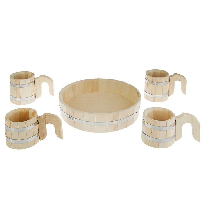 Подарочный набор(1шт.-поднос,2 шт.-кружки по 0,5л.,2шт. - кружки по 1л.)