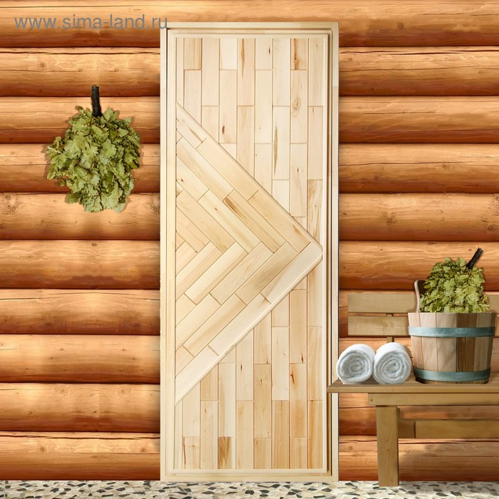 "Дверь для бани ""Кирпичики"", вертикаль, 180х70см"