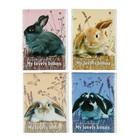 """Блокнот А7, 40 листов на скрепке """"Милые крольчата"""", 4 вида МИКС"""