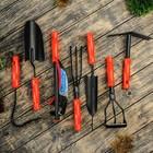 """Набор садового инстуремнта, 7 предметов: коса, 2 рыхлителя, тяпка, 2 совка, мотыжка, пластиковые ручки, """"Дачник"""""""