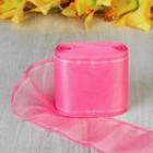 Лента для бантов, 80мм, 25м, цвет розовый