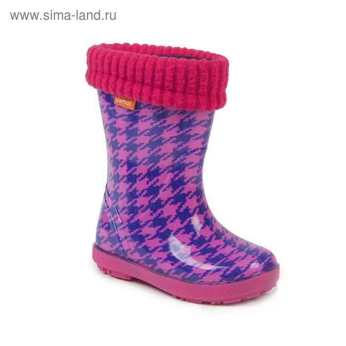 Сапоги резиновые Demar розовая клетка 0048 HF (р. 26/27)