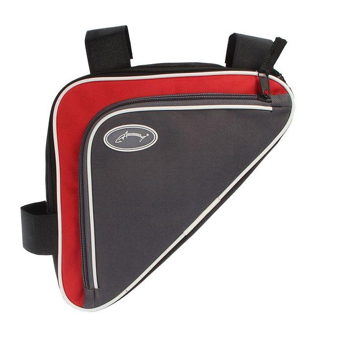 Велосумка под раму Acoola, задний треугольник, цвет красный/серый