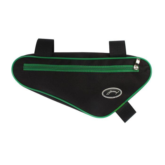 Велосумка под раму Acoola, передний треугольник, цвет чёрный/зелёный