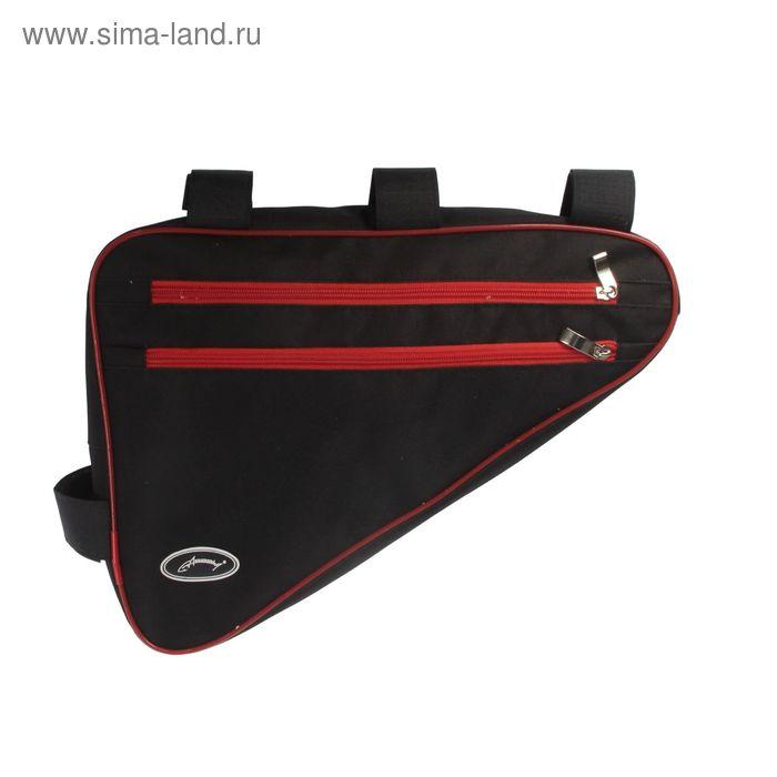 Велосумка под раму Acoola, треугольная, цвет чёрный/красный
