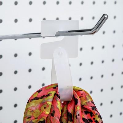 Крючок пластиковый с креплением L=14.5, (фасовка 50 шт), цвет белый