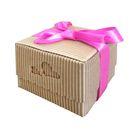 Коробка крафт из рифлёного картона с декором, 10 х 10 х 10 см
