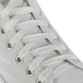 Шнурки для обуви, с плоским сечением, d=10мм, 100см, цвет белый Ош
