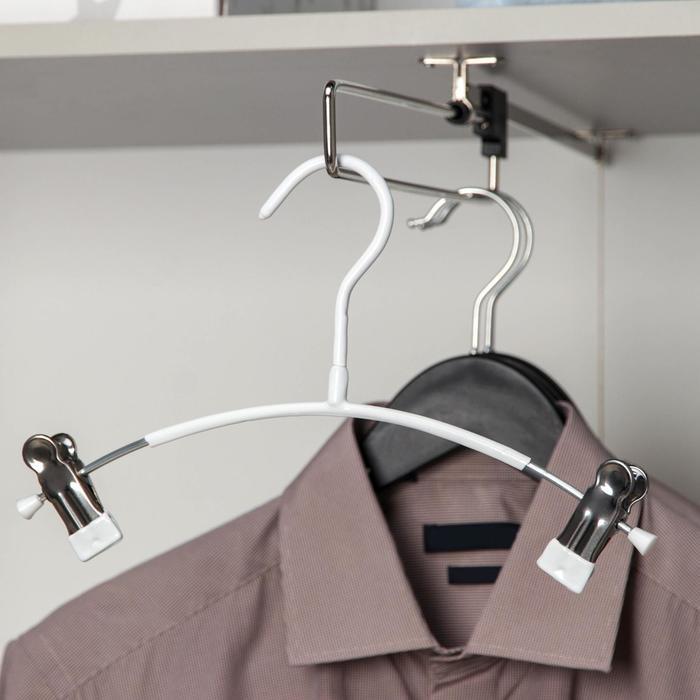 Вешалка для брюк и юбок с зажимами 26×25 см, антискользящее покрытие, цвет белый