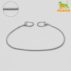 "Dog collar ""Cobra"", 40 cm, thickness 3 mm chain, silver"