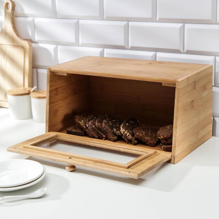 Хлебница с прозрачной дверцей, бамбук, 38,5×22×19 см
