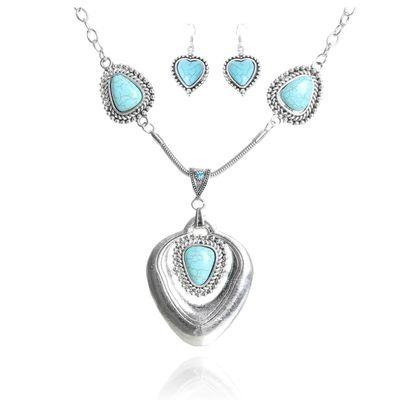"""Набор 2 предмета: серьги, колье """"Бирюзовый мир"""" сердце, цвет голубой в серебре"""