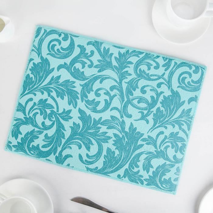 """Коврик для сушки посуды 30×40 см """"Флёр"""", микрофибра, цвет голубой"""