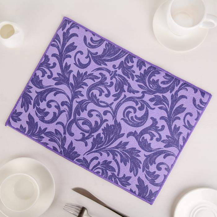 """Коврик для сушки посуды 30×40 см """"Флёр"""", микрофибра, цвет фиолетовый"""