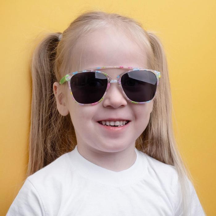 """Очки солнцезащитные детские """"Square"""", оправа с цветком, дужки и стёкла МИКС, 12.5 × 4.5 × 2.5 см"""
