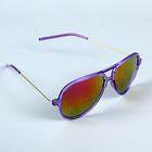 """Очки солнцезащитные """"Авиаторы"""", оправа фиолетовая прозрачная, дужки под золото, линзы радужные"""