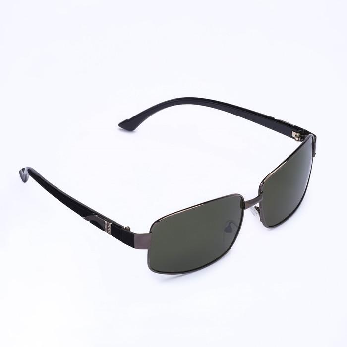 Очки солнцезащитные Square, оправа чёрная, дужки — вставка хром, линзы чёрные
