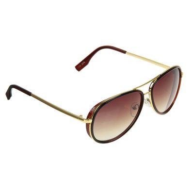 """Очки солнцезащитные """"Авиаторы"""", оправа коричневая / подзолото, дужки золотистые, линзы коричневые"""