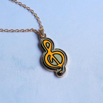 """Кулон """"Молодёжный"""" скрипичный ключ, серо-жёлтый в золоте, 50 см"""
