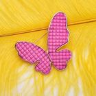 """Брошь """"Бабочка"""" рельеф, цвет розовый в серебре"""