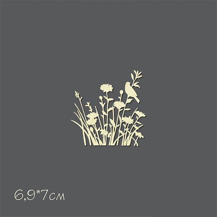 """Чипборд картон """"Полевые цветы с птахой"""" 6,9х7 см"""