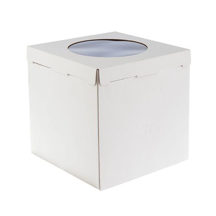 Кондитерская упаковка, короб белый с окном 30 х 30 х 30 см