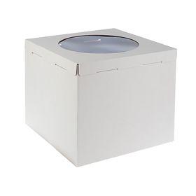 Кондитерская упаковка, короб белый с окном 40 х 40 х 35 см