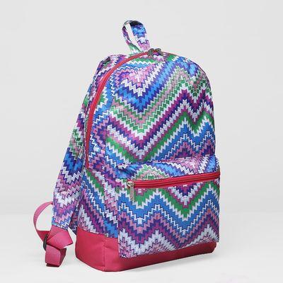 Рюкзак молодёжный на молнии, 1 отдел, наружный карман, цвет розовый/разноцветный