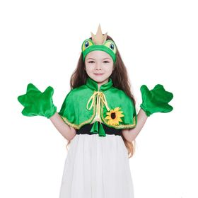 "Set ""frog Princess"" hat, Cape, paws. Size 32 height 116-128"