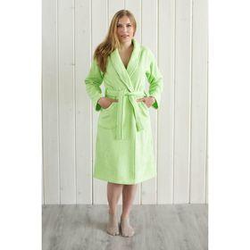 Халат женский, шалька+кант, размер 52, салатовый, махра